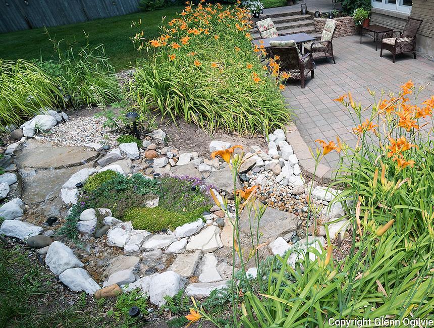 Backyard patio and landscape, George Mathewson