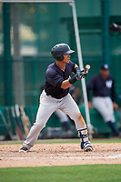 GCL Yankees West first baseman Jesus Graterol (31) squares around to bunt during the second game of a doubleheader against the GCL Braves on July 30, 2018 at Champion Stadium in Kissimmee, Florida.  GCL Braves defeated GCL Yankees West 5-4.  (Mike Janes/Four Seam Images)