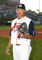 Felix Ventura of the Lowell Spinners, Class-A affiliate of the Boston Red Sox, during the New York-Penn League season.  Photo by:  Mike Janes/Four Seam Images