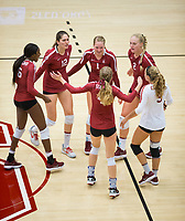 STANFORD, CA - September 9, 2018: Jenna Gray. Tami Alade, Audriana Fitzmorris, Kathryn Plummer, Morgan Hentz, Meghan McClure at Maples Pavilion. The Stanford Cardinal defeated #1 ranked Minnesota 3-1 in the Big Ten / PAC-12 Challenge.
