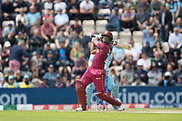Nicholas Pooran (West Indies) pulls a short delivery from Adil Rashid (England) for six during England vs West Indies, ICC World Cup Cricket at the Hampshire Bowl on 14th June 2019