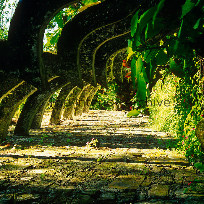 Great concrete buttresses create an arched pathway that resembles a lost city in the jungle of Las Pozas