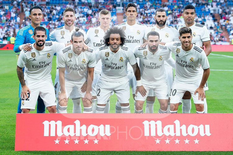 Real Madrid Keylor Navas, Sergio Ramos, Toni Kroos, Raphael Varane, Karim Benzema, Caseiro, Fernando Alarcon 'Isco', Gareth Bale, Marcelo, Daniel Carvajal, Marco Asensio during Santiago Bernabeu Trophy match at Santiago Bernabeu Stadium in Madrid, Spain. August 11, 2018. (ALTERPHOTOS/Borja B.Hojas)