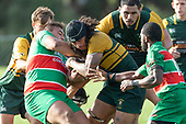 Callum Adams tries to retain posssesion of the ball as Willy Mata'afa Brown does his best to take it. Counties Manukau Premier Club rugby game between Pukekohe and Waiuku, played at Colin Lawrie Fields, Pukekohe on Saturday April 14th, 2018. Pukekohe won the game 35 - 19 after leading 9 - 7 at halftime.<br /> Pukekohe Mitre 10 Mega -Joshua Baverstock, Sione Fifita 3 tries, Cody White 3 conversions, Cody White 3 penalties.<br /> Waiuku Brian James Contracting - Lemeki Tulele, Nathan Millar, Tevta Halafihi tries,  Christian Walker 2 conversions.<br /> Photo by Richard Spranger