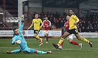 Fleetwood Town's Wes Burns scores the opening goal past Oxford United's Simon Eastwood<br /> <br /> Photographer Rich Linley/CameraSport<br /> <br /> The EFL Sky Bet League One - Fleetwood Town v Oxford United - Saturday 12th January 2019 - Highbury Stadium - Fleetwood<br /> <br /> World Copyright &copy; 2019 CameraSport. All rights reserved. 43 Linden Ave. Countesthorpe. Leicester. England. LE8 5PG - Tel: +44 (0) 116 277 4147 - admin@camerasport.com - www.camerasport.com
