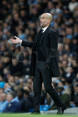 21st January 2017, Etihad Stadium, Manchester, Lancashire, England; EPL Premiership football Manchester City versus Tottenham Hotspur; Manchester City manager Pep Guardiola looks on from the technical area