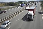 HGV lorry and car traffic M1 motorway, Derbyshire, England