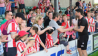 Lincoln City manager Danny Cowley celebrates with fans after conformation the Imps had secured the league title<br /> <br /> Photographer Chris Vaughan/CameraSport<br /> <br /> The EFL Sky Bet League Two - Lincoln City v Tranmere Rovers - Monday 22nd April 2019 - Sincil Bank - Lincoln<br /> <br /> World Copyright © 2019 CameraSport. All rights reserved. 43 Linden Ave. Countesthorpe. Leicester. England. LE8 5PG - Tel: +44 (0) 116 277 4147 - admin@camerasport.com - www.camerasport.com