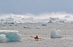 Alaska, Prince William Sound, solo sea kayaker, bad weather, Columbia Bay, Columbia Glacier, wind over icebergs, brash ice, USA, David Fox, released,.