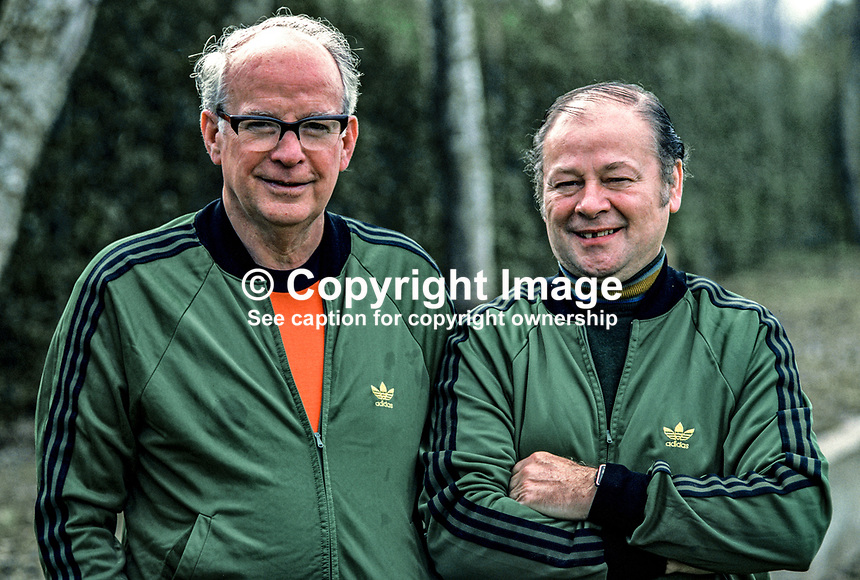 Bobby McGregor, trainer, N Ireland football team, manager, Glentoran FC, 1974 to 1977, 198011000384b. McGregor is pictured with team doctor, Dr Jack Balmer.<br />
