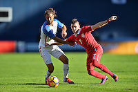 San Diego, CA - Sunday January 29, 2017: Graham Zusi, Srdjan Plavsic during an international friendly between the men's national teams of the United States (USA) and Serbia (SRB) at Qualcomm Stadium.