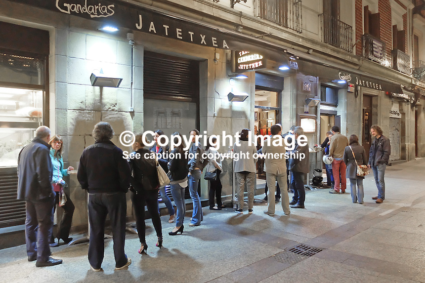 Drinks and Tapas al fresco, Parte Vieja, Old Town, Old Part, San Sebastian, Donostia, Spain, May, 2015, 201505101045<br /> <br /> <br /> <br /> Copyright Image from Victor Patterson, 54 Dorchester Park, Belfast, UK, BT9 6RJ<br /> <br /> t: +44 28 9066 1296<br /> m: +44 7802 353836<br /> vm +44 20 8816 7153<br /> <br /> e1: victorpatterson@me.com<br /> e2: victorpatterson@gmail.com<br /> <br /> www.victorpatterson.com<br /> <br /> IMPORTANT: Please see my Terms and Conditions of Use at www.victorpatterson.com