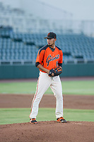 AZL Giants starting pitcher Deiyerbert Bolivar (62) prepares to deliver a pitch during the game against the AZL Athletics on August 5, 2017 at Scottsdale Stadium in Scottsdale, Arizona. AZL Athletics defeated the AZL Giants 2-1. (Zachary Lucy/Four Seam Images)