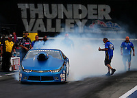 Jun 19, 2015; Bristol, TN, USA; NHRA pro stock driver Bo Butner during qualifying for the Thunder Valley Nationals at Bristol Dragway. Mandatory Credit: Mark J. Rebilas-