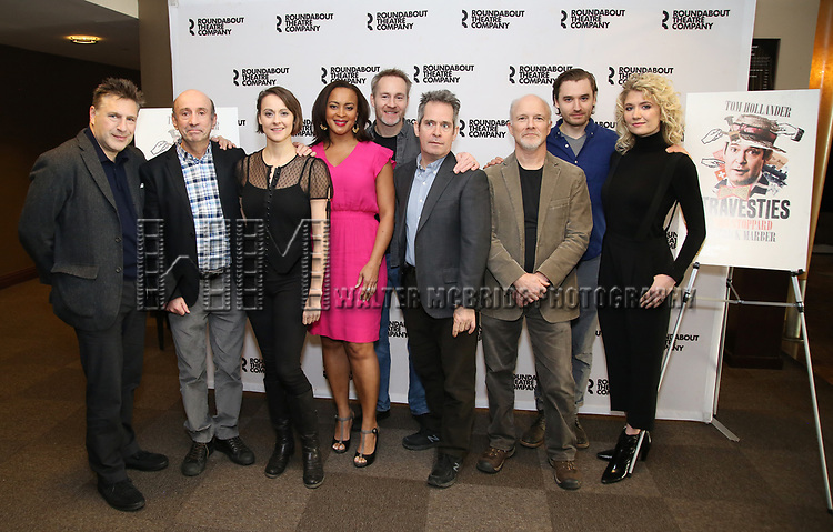 """Patrick Marber, Patrick Kerr, Sara Topham, Opal Alladin, Peter McDonald, Tom Hollander, Dan Butler, Seth Numrich and Scarlett Strallen attends the """"Travesties"""" Meets The Press on March 6, 2018 at the Roundabout Theatre in New York City."""