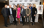 "Patrick Marber, Patrick Kerr, Sara Topham, Opal Alladin, Peter McDonald, Tom Hollander, Dan Butler, Seth Numrich and Scarlett Strallen attends the ""Travesties"" Meets The Press on March 6, 2018 at the Roundabout Theatre in New York City."