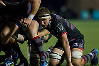 Jamie Ritchie of Edinburgh prepares for a scrum during the Guinness PRO14 match between Cardiff Blues and Edinburgh Rugby at BT Sport Cardiff Arms Park, Cardiff, Wales on 1 September 2017. Photo by Mark  Hawkins.