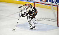 HERSHEY, PA - MARCH 16: Hershey Bears goalie Ilya Samsonov (35) passes a puck with his goalie stick during the Bridgeport Sound Tigers vs. the Hershey Bears AHL hockey game March 16, 2019 at the Giant Center in Hershey, PA. (Photo by Randy Litzinger/Icon Sportswire)