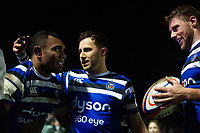 Semesa Rokoduguni of Bath Rugby celebrates his second try with team-mates Max Green and Rhyr Priestland. Premiership Rugby Cup match, between Bath Rugby and Gloucester Rugby on February 3, 2019 at the Recreation Ground in Bath, England. Photo by: Patrick Khachfe / Onside Images