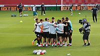 A group huddle for Brentford just ahead of kick-off during Brentford vs Swansea City, Sky Bet EFL Championship Play-Off Semi-Final 2nd Leg Football at Griffin Park on 29th July 2020