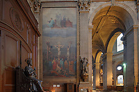 Mort du Christ or Death of Christ, by Emile Signol, 1804-92, oil on canvas, in the North transept of the church of Saint-Sulpice, built 1646-1870, in the 6th arrondissement of Paris, France. The painting was ordered by the City Council of Paris in 1868 and was subject to a first exhibition in Ecole des Beaux Arts (School of Fine Arts) in 1876. Picture by Manuel Cohen