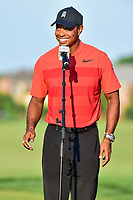 Bethesda, MD - July 1, 2018: Tiger Woods addresses the crowd at the Quicken Loans National Tournament at TPC Potomac at Avenel Farm in Bethesda, MD.  (Photo by Phillip Peters/Media Images International)