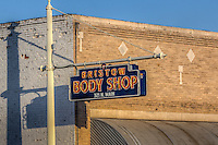 The Bristow Body Shop located on Route 66 in Bristow Oklahoma.