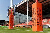 20130801 Copyright onEdition 2013 ©<br /> Free for editorial use image, please credit: onEdition.<br /> <br /> JP Morgan branding on the post wraps before the J.P. Morgan Asset Management Premiership Rugby 7s Series.<br /> <br /> The J.P. Morgan Asset Management Premiership Rugby 7s Series kicks off for the fourth season on Thursday 1st August with Pool A at Kingsholm, Gloucester with Pool B being played at Franklin's Gardens, Northampton on Friday 2nd August, Pool C at Allianz Park, Saracens home ground, on Saturday 3rd August and the Final being played at The Recreation Ground, Bath on Friday 9th August. The innovative tournament, which involves all 12 Premiership Rugby clubs, offers a fantastic platform for some of the country's finest young athletes to be exposed to the excitement, pressures and skills required to compete at an elite level.<br /> <br /> The 12 Premiership Rugby clubs are divided into three groups for the tournament, with the winner and runner up of each regional event going through to the Final. There are six games each evening, with each match consisting of two 7 minute halves with a 2 minute break at half time.<br /> <br /> For additional images please go to: http://www.w-w-i.com/jp_morgan_premiership_sevens/<br /> <br /> For press contacts contact: Beth Begg at brandRapport on D: +44 (0)20 7932 5813 M: +44 (0)7900 88231 E: BBegg@brand-rapport.com<br /> <br /> If you require a higher resolution image or you have any other onEdition photographic enquiries, please contact onEdition on 0845 900 2 900 or email info@onEdition.com<br /> This image is copyright the onEdition 2013©.<br /> <br /> This image has been supplied by onEdition and must be credited onEdition. The author is asserting his full Moral rights in relation to the publication of this image. Rights for onward transmission of any image or file is not granted or implied. Changing or deleting Copyright information is illegal as specified in the Copyright, Design and Patents Act 1988. If you are in any way unsure of your right to publish this image please contact onEdition on 0845