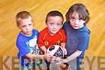Pictured enjoying the Sports Summer Camp in Abbeydorney Parish Community Hall on Friday were: Mateusz Píaszczyca, Luke Clifford and Matt Griffin.