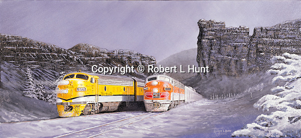 "A Western Pacific Railroad passenger train running side by side with Rio Grande F units through a snowy winter mountain pass out west. Oil on canvas, 14"" x 30""."