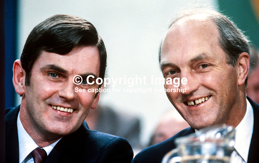 Ray McSharry, TD, minister (left), and George Colley, TD, Tanaiste, deputy prime minister, on platform during Fianna Fail Ard Fheis (annual conference), 198002000040f.<br />