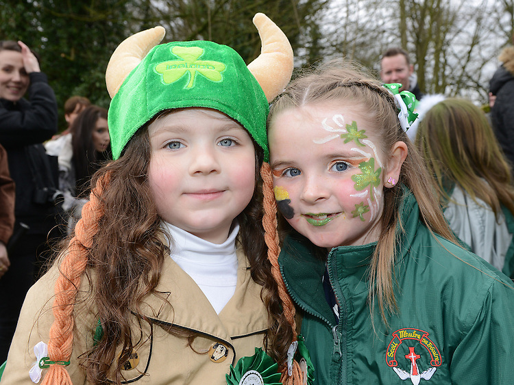 Eva Sampson and Caoimhe O'Callaghan who took part in Ardee St Patrick's day parade. Photo:Colin Bell/pressphotos.ie