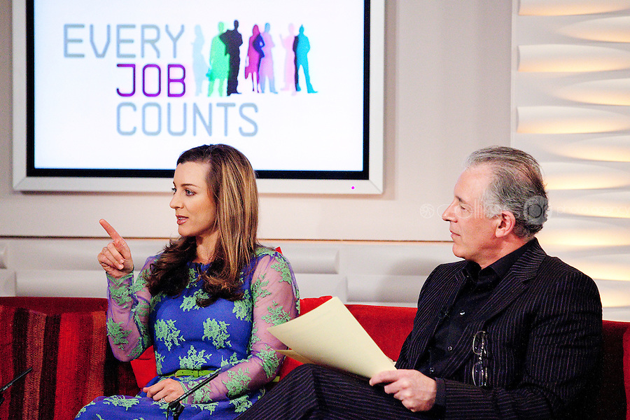 NO REPRO FEE. 7/4/2011. Minister Richard Bruton launches TV3's 'Every Job Counts' campaign.  Mark Cagney and Sinead Desmond are pictured at TV3 Studios during an interview for Ireland am in order to launch TV3's new campaign - Every Job Counts'  which aims to highlight and publicise Irish based companies which are creating new jobs in these tough economic times. During April TV3 will highlight the Trojan work undertaken by thousands of Irish businesses which strive to exploit the opportunities which can come out of economic decline and stagnation and which endeavor to grow turnover and employment.Businesses big and small are urged to log onto TV3.ie/Everyjobcounts and tell us how many jobs they have created recently or over the past 12 months and how they managed to do it against all the odds. The most inspiring stories will be filmed and broadcast on TV3's News at 5.30, Ireland am and Midweek during the month. As a further source of assistance and help, TV3 will offer a EUR50,000 advertising and promotional bursary for the most inspiring story of job creation we receive over the course of the month. Details on how to enter TV3's Every Job Counts campaign can be found at: www.tv3.ie/everyjobcounts Picture James Horan/Collins Photos