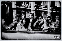 """Henley on Thames,  GREAT BRITAIN,  2nd July 2006, International Olympic Committee,  President, Dr Jacques ROGGE,  takes a trip in,  """"Ariadne"""", during the Annual Henley Royal Regatta,  """"Film Noir Style Photography"""", © Peter SPURRIER,"""