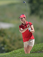 Owings Mills, MD - July 26, 2014: Beatriz Recari, of Team Spain, follows her bunker shot on the 9th hole during Round 3 of four-ball competition at the LPGA International Crown at the Caves Valley Golf Club in Owings Mills, MD on July 26, 2014. 32 players from twelve countries competed in this inaugural tournament.  (Photo by Don Baxter/Media Images International)