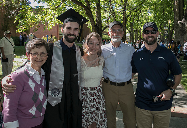 Toni Lakow, David Oram, Kim Bruner, Bill Lakow and Brian Oram during the University of Nevada College of Agriculture, Biotechnology & Natural Resources and College of Education graduation ceremony on Friday evening, May 19, 2017.
