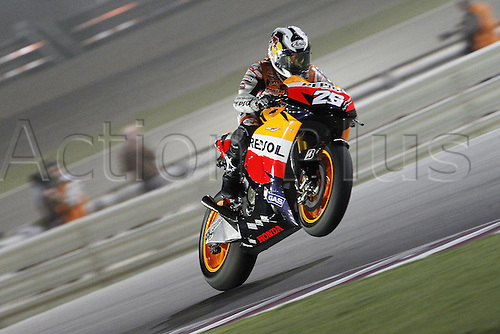 10 04 2010  10 04 2010 Doha  MotoGP Moto Nella Photo Dani Pedrosa Repsol Honda team Photo Semedia Inside photo . Action from the FIM MotoGP Qatar World Cup.