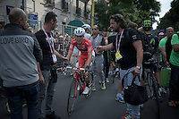 Giacomo Nizzolo (ITA/Trek Factory Racing) after finishing and securing his maglia rossa<br /> <br /> Giro d'Italia 2015<br /> final stage 21: Torino - Milano (178km)