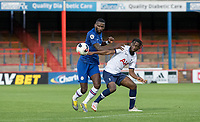 Antonio Rüdiger of Chelsea battles Rodel Richards of Spurs during the Premier League 2 match between Chelsea U23 and Tottenham Hotspur U23 at the Electrical Services Stadium, Aldershot, England on 30 August 2019. Photo by Andy Rowland.