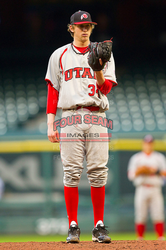 Relief pitcher Tyler Wagner #34 of the Utah Utes looks to his catcher for the sign against the Texas A&M Aggies at Minute Maid Park on March 4, 2011 in Houston, Texas.  Photo by Brian Westerholt / Four Seam Images
