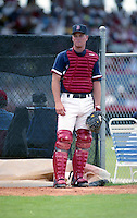 Boston Red Sox catcher Scott Hatteberg during spring training circa 1992 at Chain of Lakes Park in Winter Haven, Florida.  (MJA/Four Seam Images)