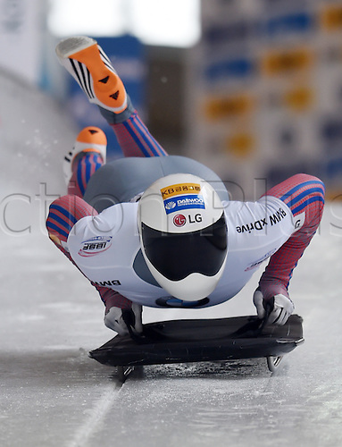 27.02.2016. Koenigssee,  Berchtesgaden, Germany. Sungbin Yun of Korea in action during the Skeleton World Cup in Koenigssee, Germany, 27 February 2016.