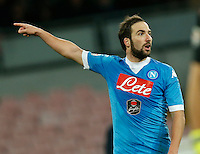 Napoli's Gonzalo Higuain  reacts  during the  italian serie a soccer match,between SSC Napoli and Torino      at  the San  Paolo   stadium in Naples  Italy , January 07, 2016