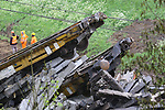 26/04/2017, Bressanone, Brixen - Italy Train Crash.<br /> A manutention train with railway spans crash in Bressanone, Brixen, Italy on April 26, 2017. Two workers have been killed; three injured. Railway between Brenner, Brennero and Bolzano, Bozen remains closed.