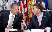 United States President Barack Obama and Defense Secretary Ash Carter (R) hold a national security council meeting on the counter-ISIL campaign at the Pentagon December 14, 2015 in Arlington, Virginia. During the meeting President Obama received an update from his national security team and discussed ways to further enhance the campaign to degrade and destroy the terrorist group. <br /> Credit: Olivier Douliery / Pool via CNP