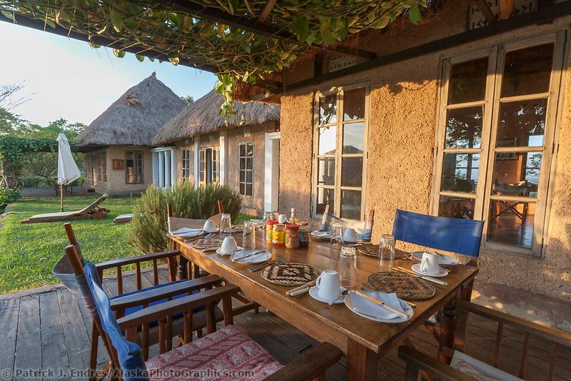Breakfast table at the Ndali Lodge, Uganda, East Africa