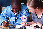 NYC Public School High School math class male and female students working together