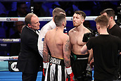 24th March 2018, O2 Arena, London, England; Matchroom Boxing, WBC Silver Heavyweight Title, Dillian Whyte versus Lucas Browne; Undercard fight, Lewis Ritson Versus Scott Cardle British Lightweight championship; Lewis Ritson and Scott Cardle come face to face in the centre of the ring before the first round