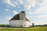 Round white masonry barn, SE of Audubon, Iowa