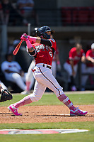 Isan Diaz (6) of the Carolina Mudcats follows through on a 2-run home run against the Winston-Salem Dash at Five County Stadium on May 14, 2017 in Zebulon, North Carolina.  The Mudcats walked-off the Dash 11-10.  (Brian Westerholt/Four Seam Images)